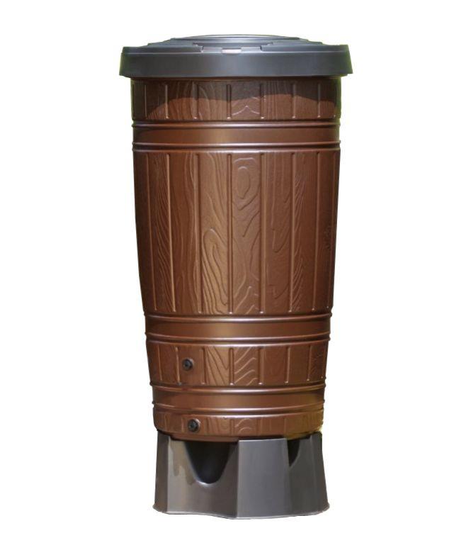 Dekoracyjny ozdobny zbiornik na deszczówke wodę deszczową, imitujacy drewnianą beczkę Woodcan 265L brązowy lub czarny z podstawą