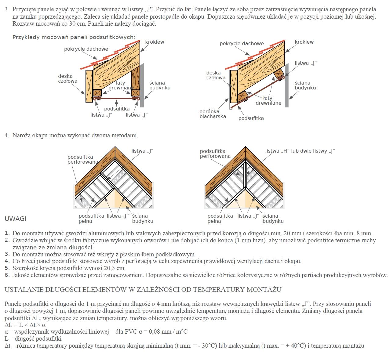 Instrukcja montażu podsufitki podbitki dachowej Izabella str2