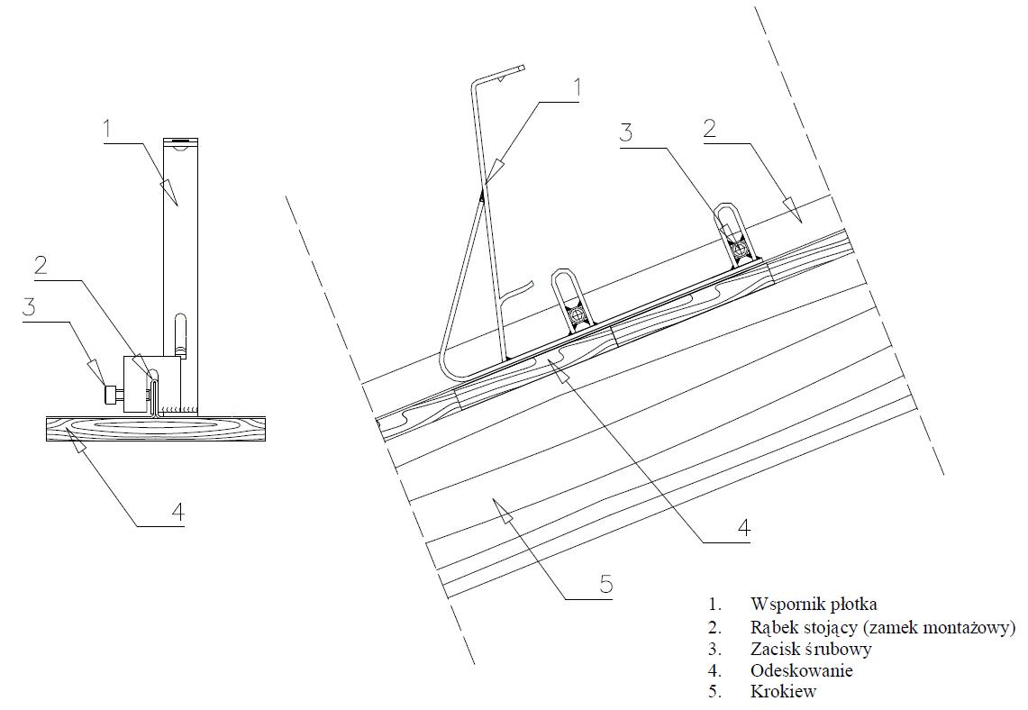 Instrukcja montażu wspornika bariery płotka przeciwśniegowego do balchy na rąbek stojący