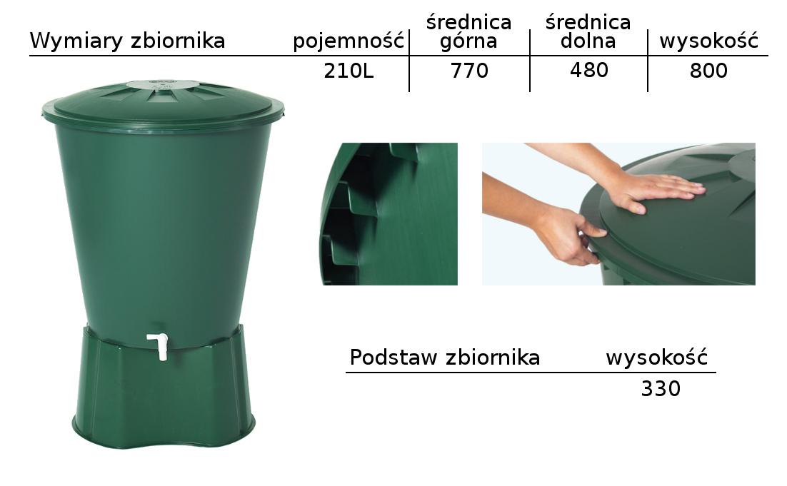 Wymiary zbiornika 210L z podstawą w kolorze zielonym